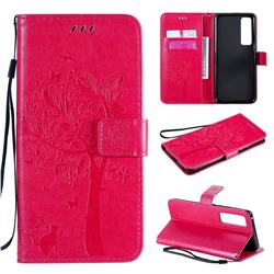 Embossing Butterfly Tree Leather Wallet Case for Huawei nova 7 Pro 5G - Rose