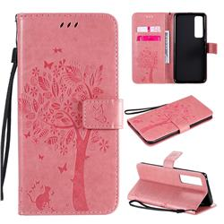 Embossing Butterfly Tree Leather Wallet Case for Huawei nova 7 Pro 5G - Pink