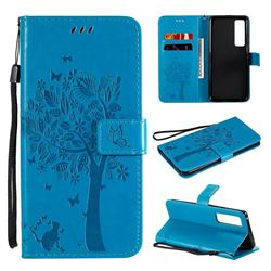 Embossing Butterfly Tree Leather Wallet Case for Huawei nova 7 Pro 5G - Blue