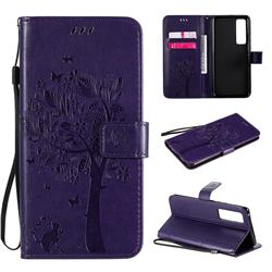 Embossing Butterfly Tree Leather Wallet Case for Huawei nova 7 Pro 5G - Purple