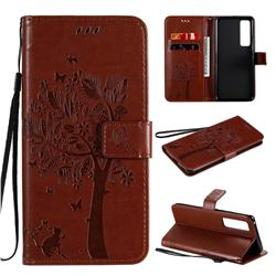 Embossing Butterfly Tree Leather Wallet Case for Huawei nova 7 Pro 5G - Coffee