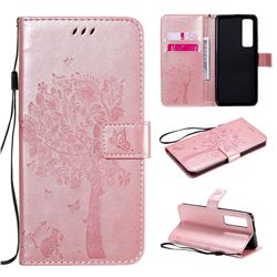 Embossing Butterfly Tree Leather Wallet Case for Huawei nova 7 Pro 5G - Rose Pink