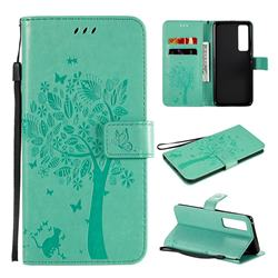 Embossing Butterfly Tree Leather Wallet Case for Huawei nova 7 Pro 5G - Cyan