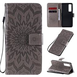 Embossing Sunflower Leather Wallet Case for Huawei nova 7 Pro 5G - Gray