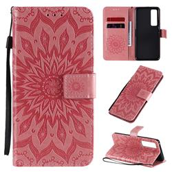 Embossing Sunflower Leather Wallet Case for Huawei nova 7 Pro 5G - Pink