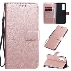 Embossing Sunflower Leather Wallet Case for Huawei nova 7 Pro 5G - Rose Gold