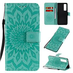 Embossing Sunflower Leather Wallet Case for Huawei nova 7 Pro 5G - Green