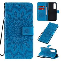 Embossing Sunflower Leather Wallet Case for Huawei nova 7 Pro 5G - Blue