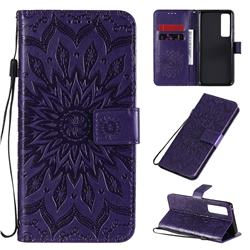 Embossing Sunflower Leather Wallet Case for Huawei nova 7 Pro 5G - Purple