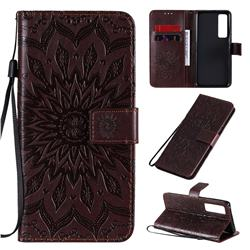 Embossing Sunflower Leather Wallet Case for Huawei nova 7 Pro 5G - Brown