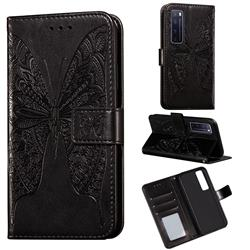 Intricate Embossing Vivid Butterfly Leather Wallet Case for Huawei nova 7 Pro 5G - Black