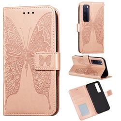 Intricate Embossing Vivid Butterfly Leather Wallet Case for Huawei nova 7 Pro 5G - Rose Gold