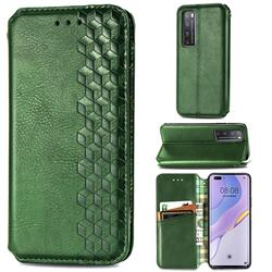 Ultra Slim Fashion Business Card Magnetic Automatic Suction Leather Flip Cover for Huawei nova 7 Pro 5G - Green