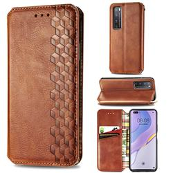Ultra Slim Fashion Business Card Magnetic Automatic Suction Leather Flip Cover for Huawei nova 7 Pro 5G - Brown