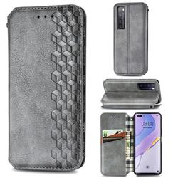 Ultra Slim Fashion Business Card Magnetic Automatic Suction Leather Flip Cover for Huawei nova 7 Pro 5G - Grey