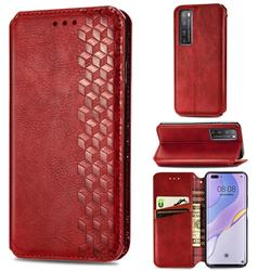 Ultra Slim Fashion Business Card Magnetic Automatic Suction Leather Flip Cover for Huawei nova 7 Pro 5G - Red