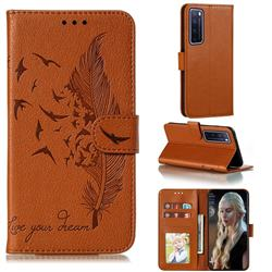 Intricate Embossing Lychee Feather Bird Leather Wallet Case for Huawei nova 7 Pro 5G - Brown