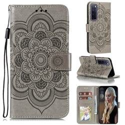 Intricate Embossing Datura Solar Leather Wallet Case for Huawei nova 7 Pro 5G - Gray
