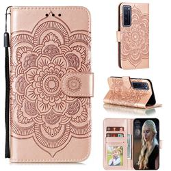 Intricate Embossing Datura Solar Leather Wallet Case for Huawei nova 7 Pro 5G - Rose Gold
