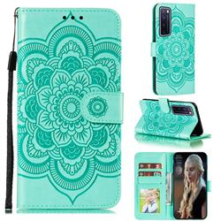 Intricate Embossing Datura Solar Leather Wallet Case for Huawei nova 7 Pro 5G - Green