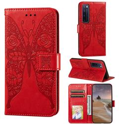 Intricate Embossing Rose Flower Butterfly Leather Wallet Case for Huawei nova 7 Pro 5G - Red