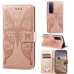 Intricate Embossing Rose Flower Butterfly Leather Wallet Case for Huawei nova 7 Pro 5G - Rose Gold