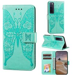 Intricate Embossing Rose Flower Butterfly Leather Wallet Case for Huawei nova 7 Pro 5G - Green
