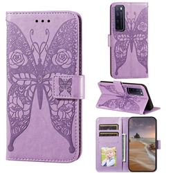 Intricate Embossing Rose Flower Butterfly Leather Wallet Case for Huawei nova 7 Pro 5G - Purple