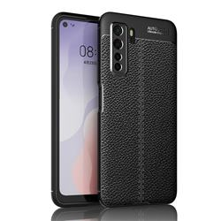 Luxury Auto Focus Litchi Texture Silicone TPU Back Cover for Huawei nova 7 SE - Black
