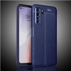 Luxury Auto Focus Litchi Texture Silicone TPU Back Cover for Huawei nova 7 SE - Dark Blue