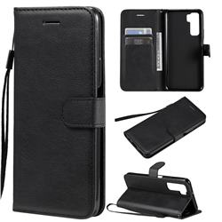 Retro Greek Classic Smooth PU Leather Wallet Phone Case for Huawei nova 7 SE - Black
