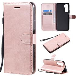 Retro Greek Classic Smooth PU Leather Wallet Phone Case for Huawei nova 7 SE - Rose Gold