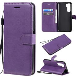 Retro Greek Classic Smooth PU Leather Wallet Phone Case for Huawei nova 7 SE - Purple