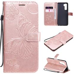 Embossing 3D Butterfly Leather Wallet Case for Huawei nova 7 SE - Rose Gold