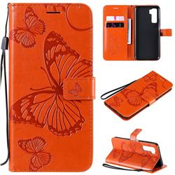 Embossing 3D Butterfly Leather Wallet Case for Huawei nova 7 SE - Orange