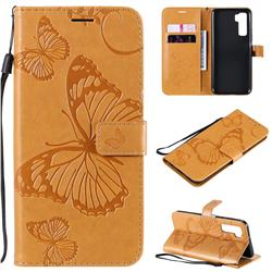 Embossing 3D Butterfly Leather Wallet Case for Huawei nova 7 SE - Yellow