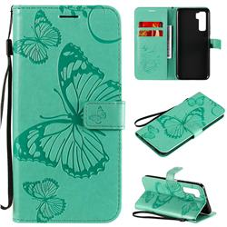 Embossing 3D Butterfly Leather Wallet Case for Huawei nova 7 SE - Green