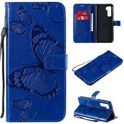 Embossing 3D Butterfly Leather Wallet Case for Huawei nova 7 SE - Blue