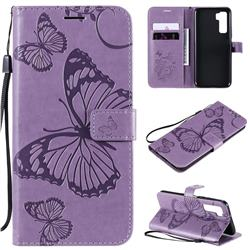 Embossing 3D Butterfly Leather Wallet Case for Huawei nova 7 SE - Purple