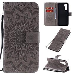 Embossing Sunflower Leather Wallet Case for Huawei nova 7 SE - Gray