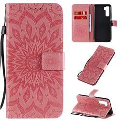 Embossing Sunflower Leather Wallet Case for Huawei nova 7 SE - Pink