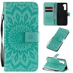 Embossing Sunflower Leather Wallet Case for Huawei nova 7 SE - Green
