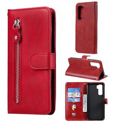 Retro Luxury Zipper Leather Phone Wallet Case for Huawei nova 7 SE - Red
