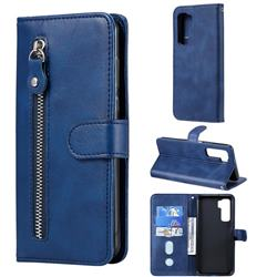 Retro Luxury Zipper Leather Phone Wallet Case for Huawei nova 7 SE - Blue