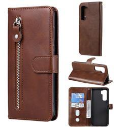 Retro Luxury Zipper Leather Phone Wallet Case for Huawei nova 7 SE - Brown