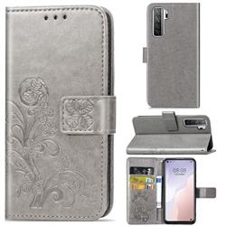 Embossing Imprint Four-Leaf Clover Leather Wallet Case for Huawei nova 7 SE - Grey