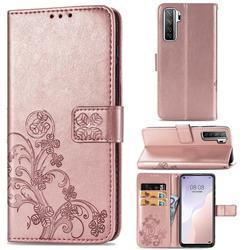 Embossing Imprint Four-Leaf Clover Leather Wallet Case for Huawei nova 7 SE - Rose Gold