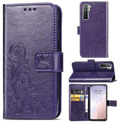 Embossing Imprint Four-Leaf Clover Leather Wallet Case for Huawei nova 7 SE - Purple