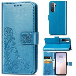 Embossing Imprint Four-Leaf Clover Leather Wallet Case for Huawei nova 7 SE - Blue