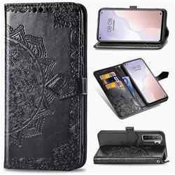 Embossing Imprint Mandala Flower Leather Wallet Case for Huawei nova 7 SE - Black